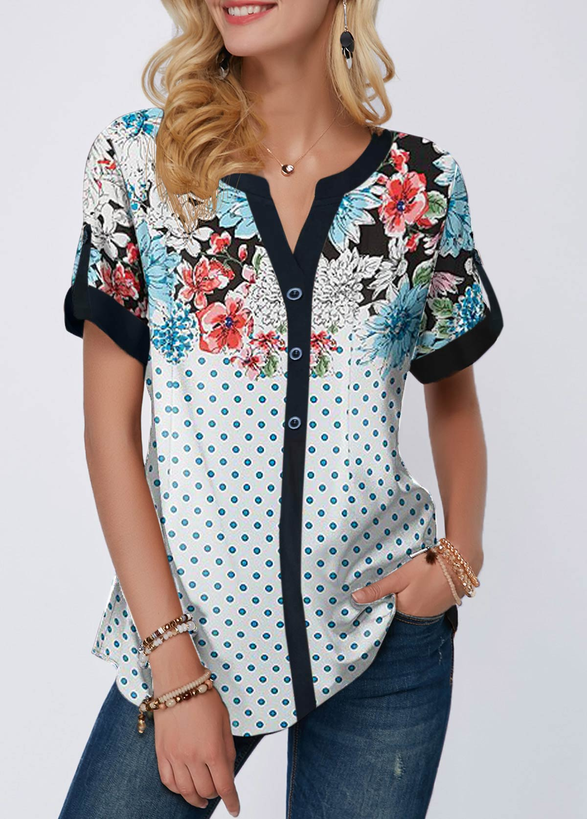 Split Neck Button Front Dot Print Blouse