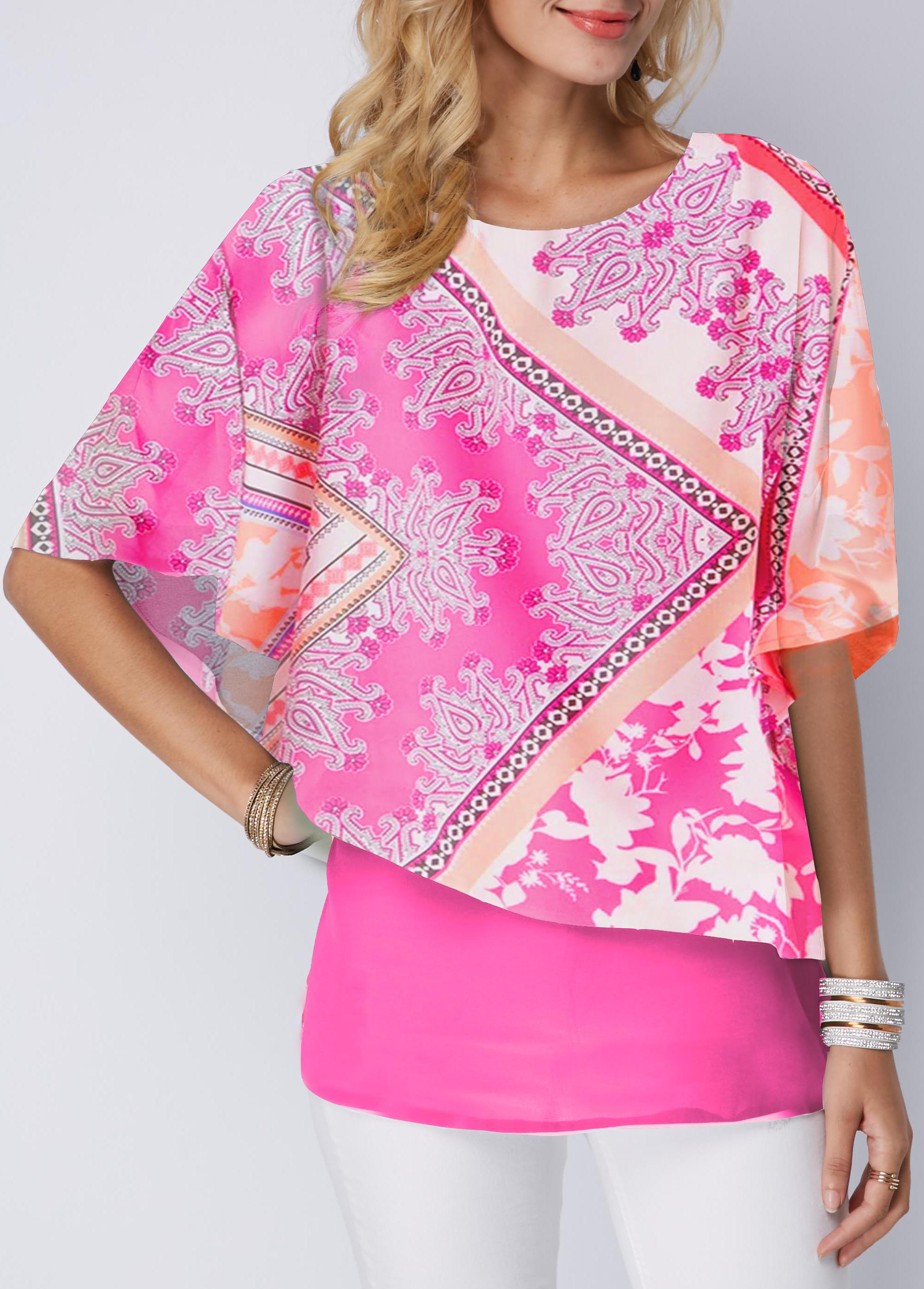 Round Neck Faux Two Piece Printed Blouse