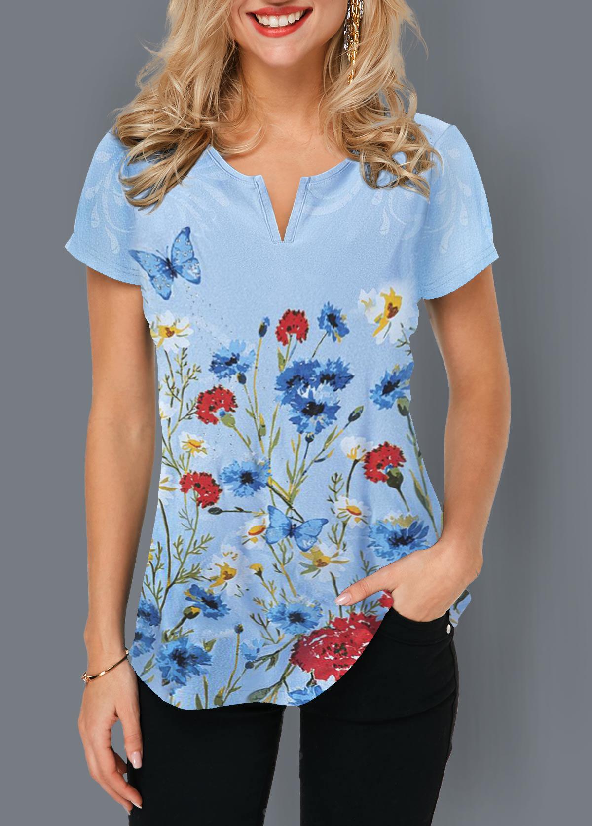 Notch Neck Short Sleeve Floral Print T Shirt