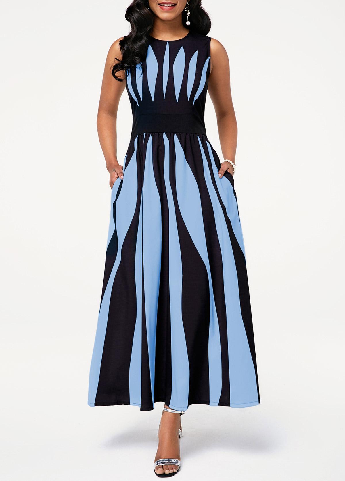 High Waist Sleeveless Stripe Print Pocket Dress