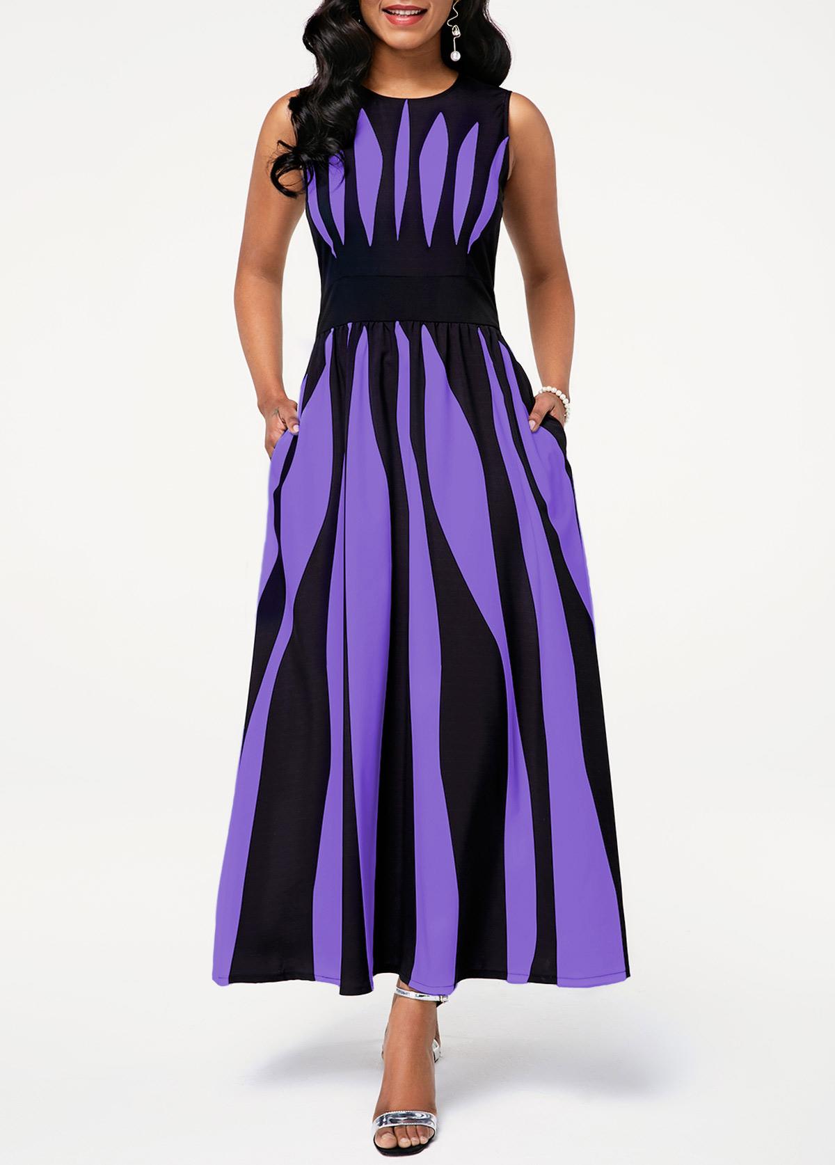 High Waist Round Neck Stripe Print Pocket Dress