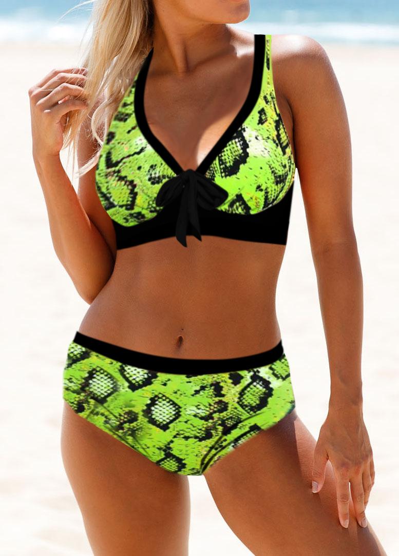 Bowknot Detail Neon Snake Print Bikini Set