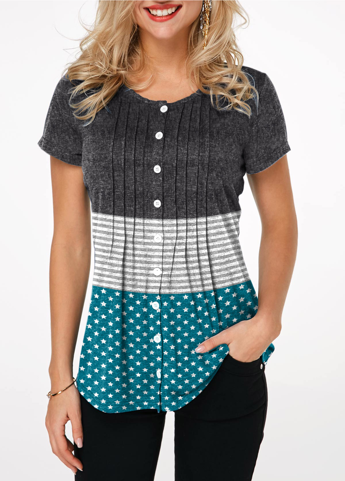 Button Up Crinkle Chest Star Print T Shirt