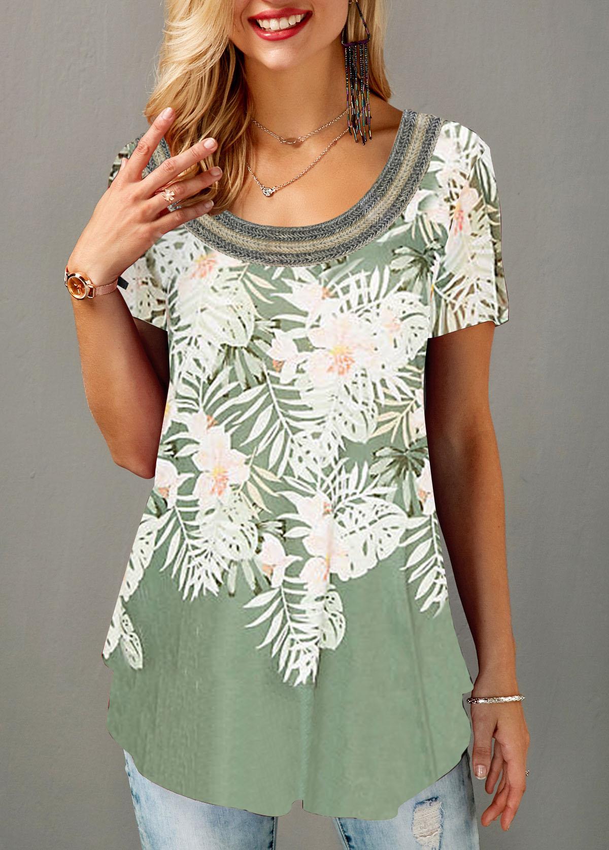 Flower Print Curved Hem Short Sleeve T Shirt