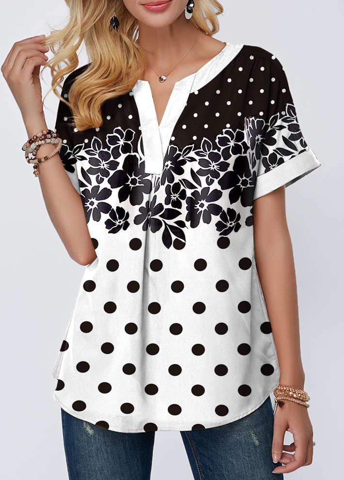 Notch Neck Dot and Flower Print T Shirt