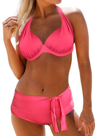 Bowknot Detail Padded Halter Bikini Set