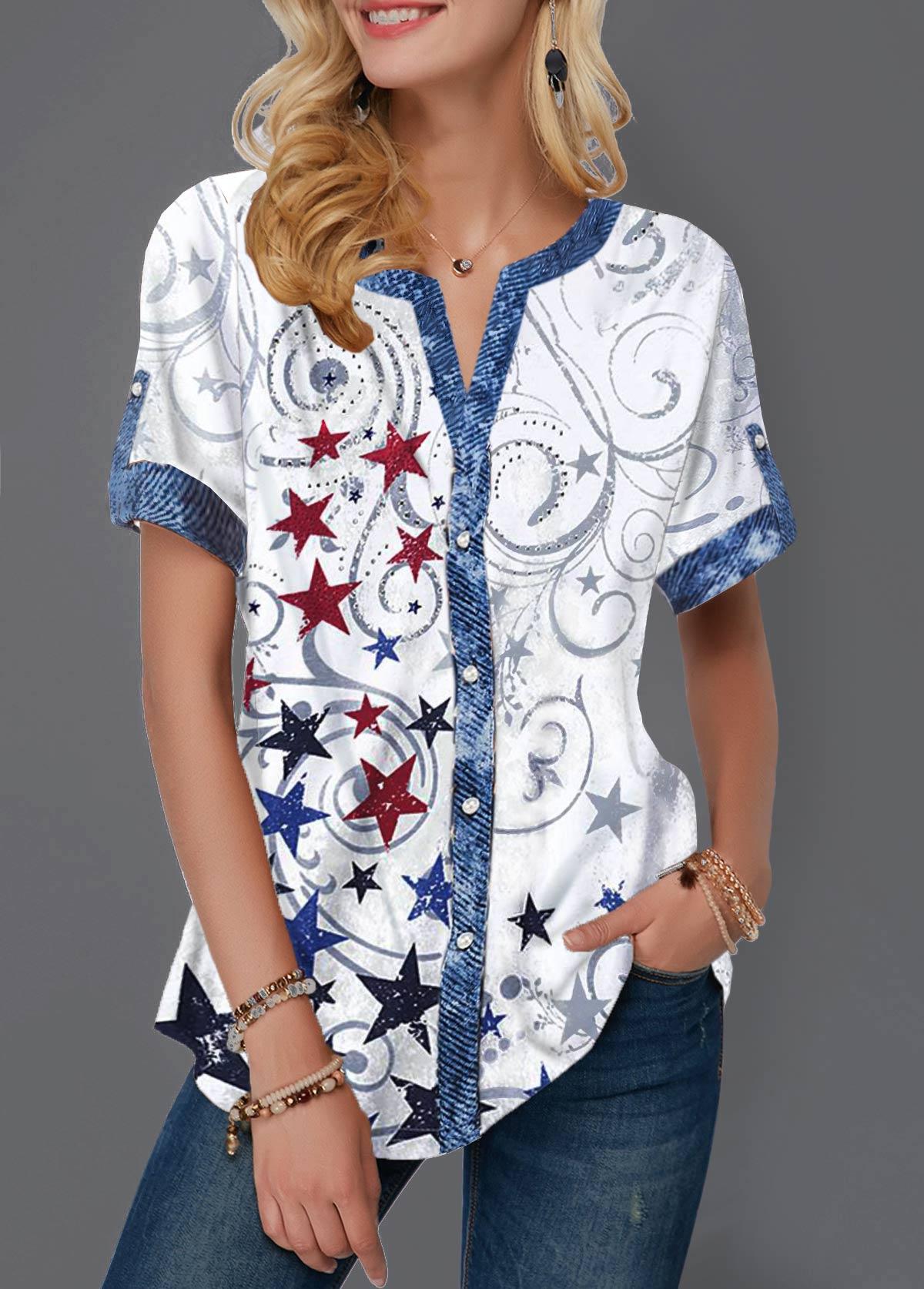Split Neck Button Up Star Print Blouse