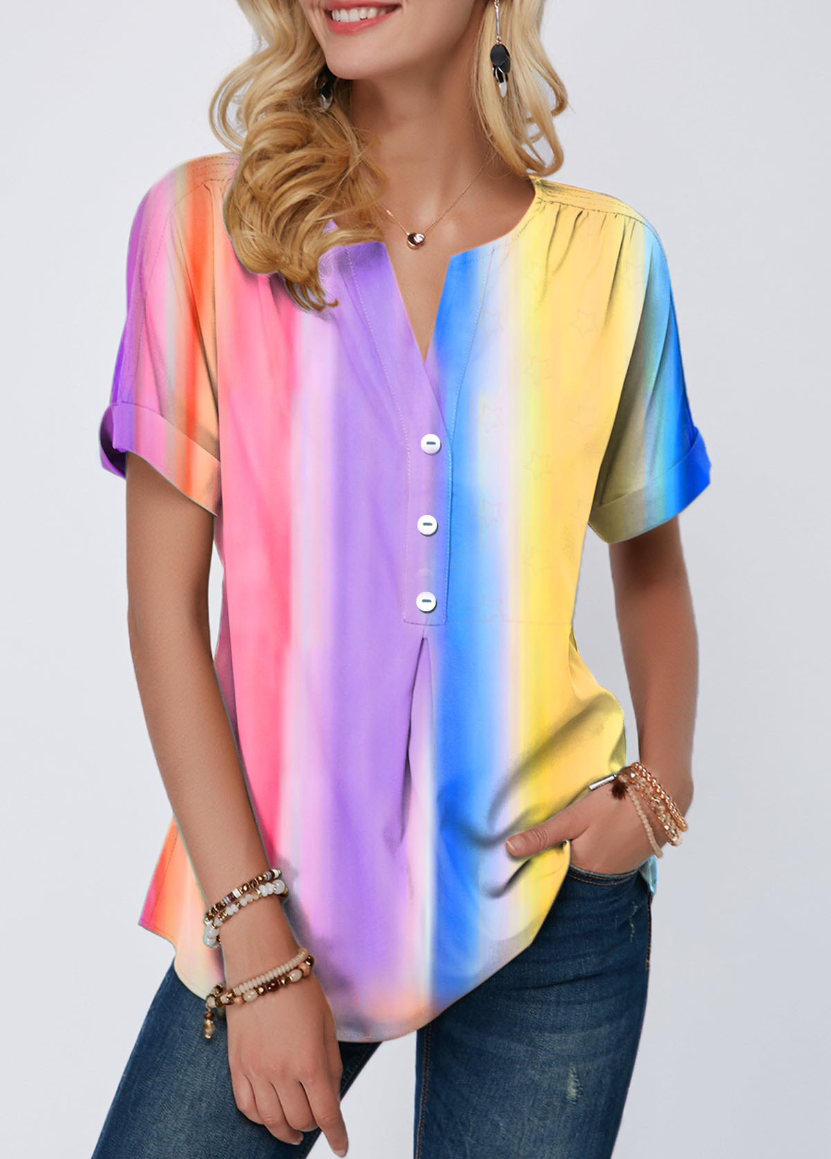 Split Neck Tie Dye Print Button Detail T Shirt