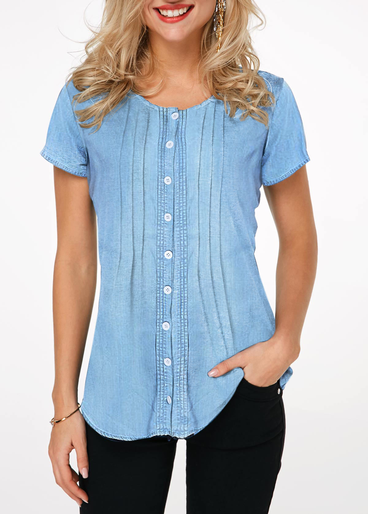Button Up Crinkle Chest Denim Shirt