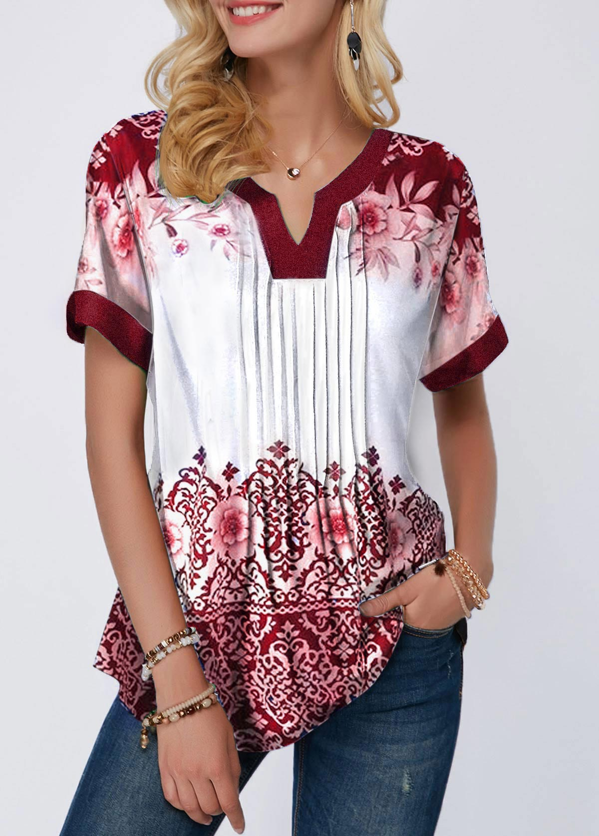 Split Neck Printed Crinkle Detail Blouse