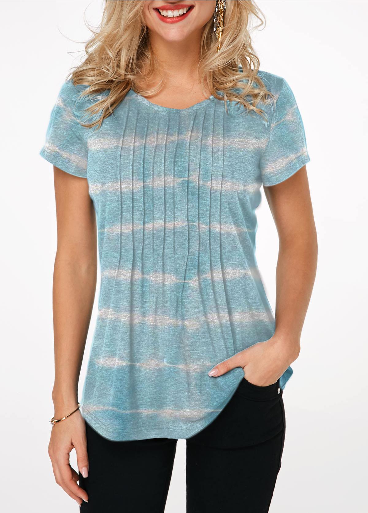 Tie Dye Crinkle Detail Short Sleeve T Shirt