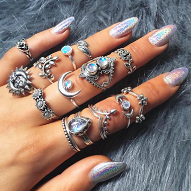 Silver Metal Blue Rhinestone Embellished Moon Shape Rings