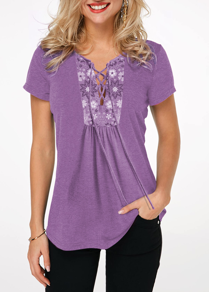 Lace Up Front Short Sleeve Lavender T Shirt