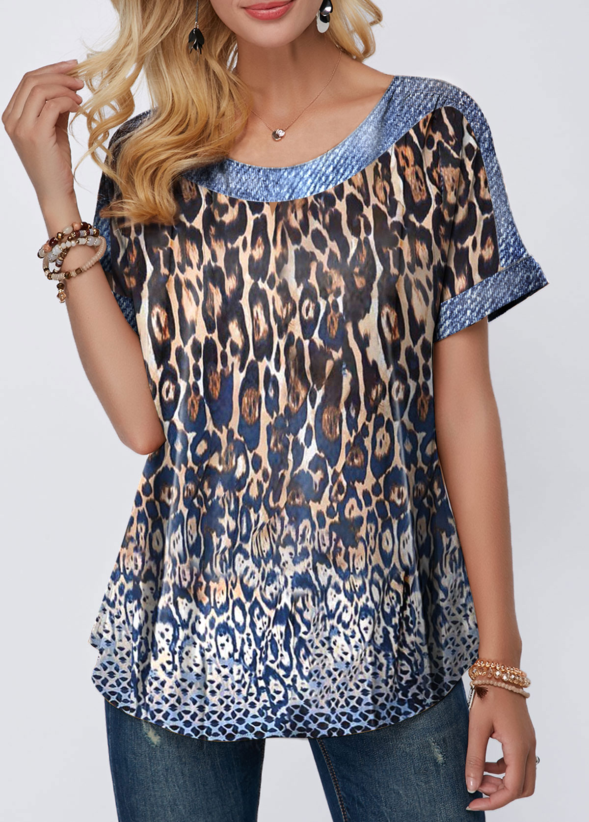 Leopard Print Short Sleeve Round Neck Blouse