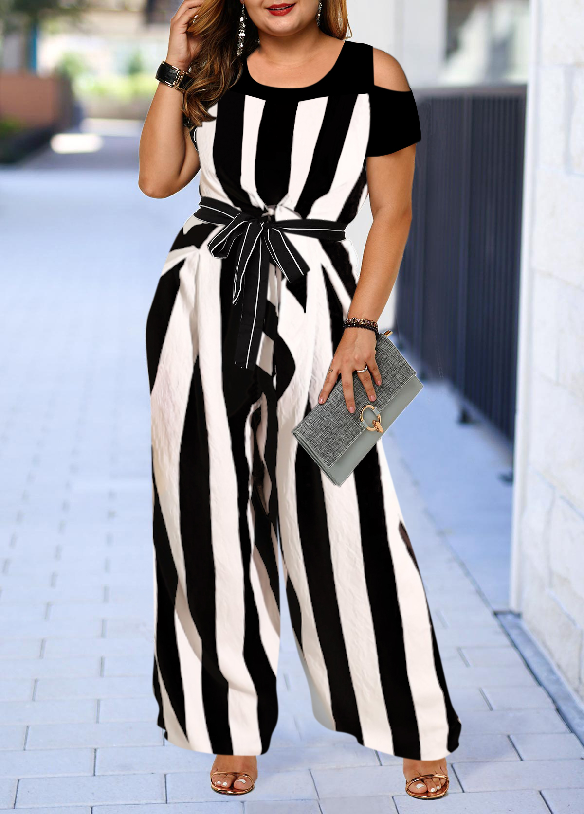 Plus Size Color Block Cold Shoulder Striped Jumpsuit