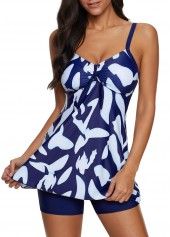 Bowknot-Detail-Spaghetti-Strap-Printed-Swimdress-and-Shorts