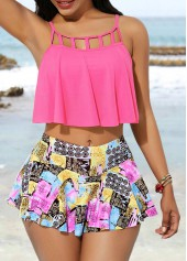 Cage-Neck-Swimwear-Top-and-Printed-Pantskirt