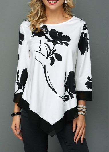 3/4 Sleeve White Blouse Tunic Top for Women Round Neck Flower Print Asymmetric Hem T Shirt - L