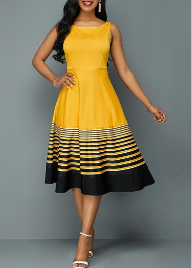 Stripe Print Sleeveless High Waist Dress - L