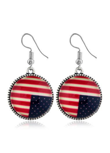 Round Shape American Flag Design Earrings - One Size