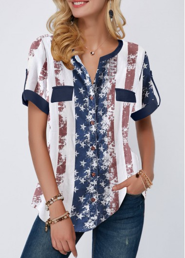 Women's American Flag Patriotic Shirt Roll Tab Sleeve American Flag Print Blouse - L