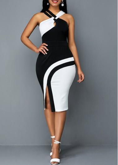 Side Slit Sleeveless Color Block Sheath Dress - L