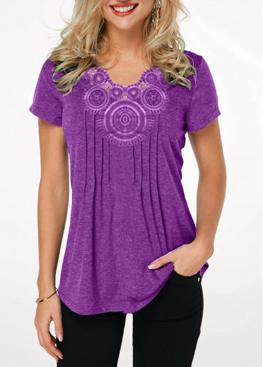 Women's Purple Casual Tunic Top Lavender Crinkle Chest Short Sleeve T Shirt - L