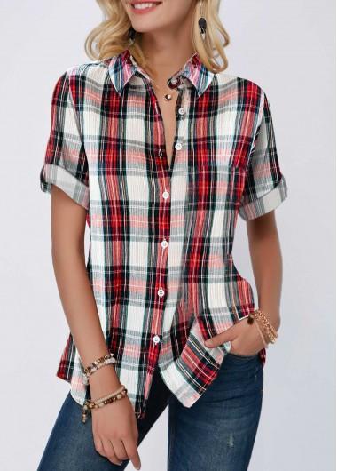 Women's Casual Plaid Shirt Button Up Roll Tab Sleeve Turndown Collar Shirt - L