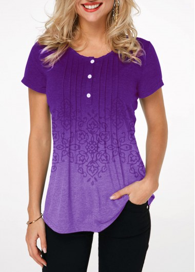 Women's Short Sleeve Purple Casual Shirt Gradient Crinkle Chest Button Detail Printed T Shirt - L