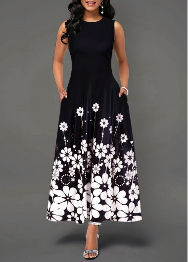 30618c8f5602 64%offQuick ShopAdded Successfully. Flower Print Sleeveless Round Neck ...