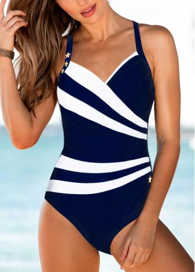 Spaghetti Strap Open Back Navy Blue One Piece Swimwear - L