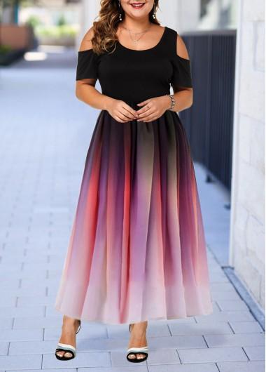 Plus Size Cold Shoulder Gradient Dress   modlily.com - USD $36.14