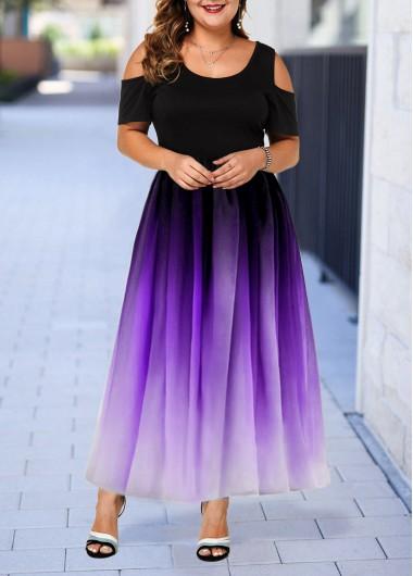 Plus Size Cold Shoulder Gradient Dress | modlily.com - USD ...