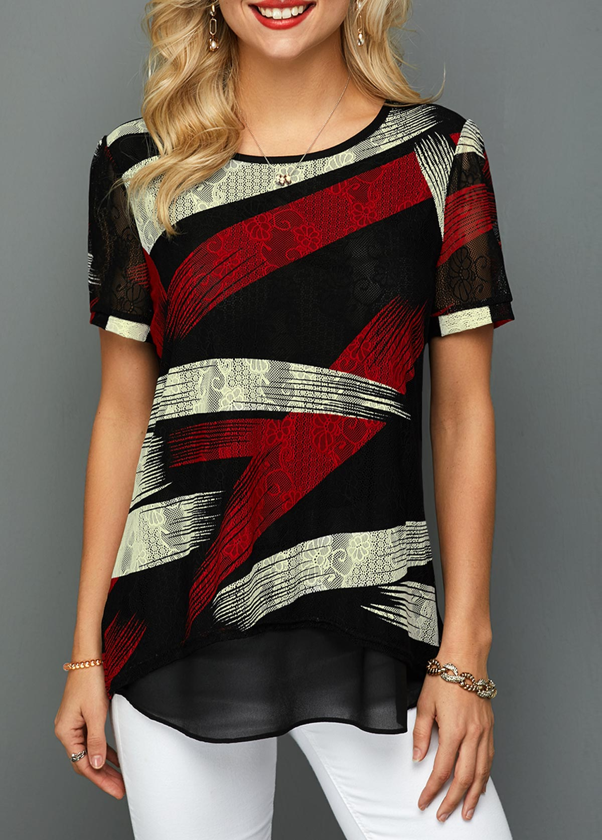 Printed Curved Hem Color Block Lace T Shirt