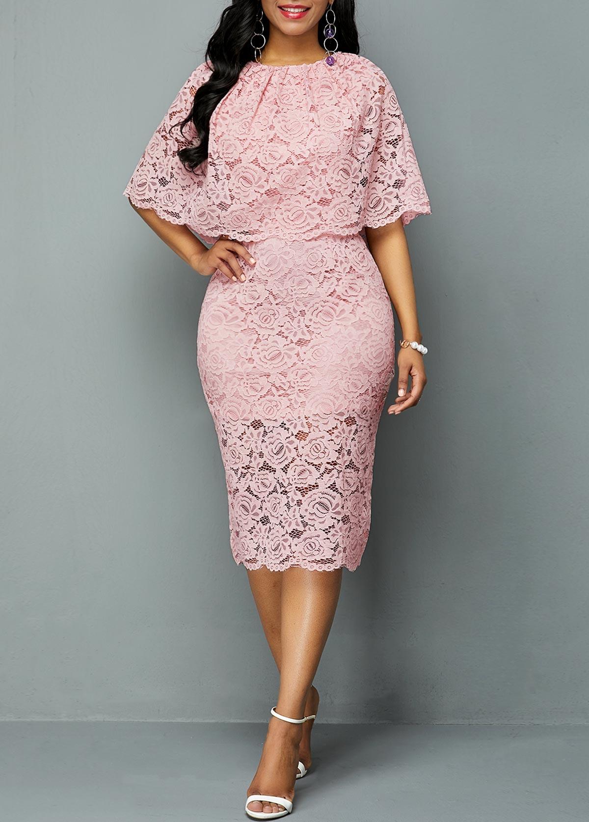 Overlay Embellished Half Sleeve Lace Dress