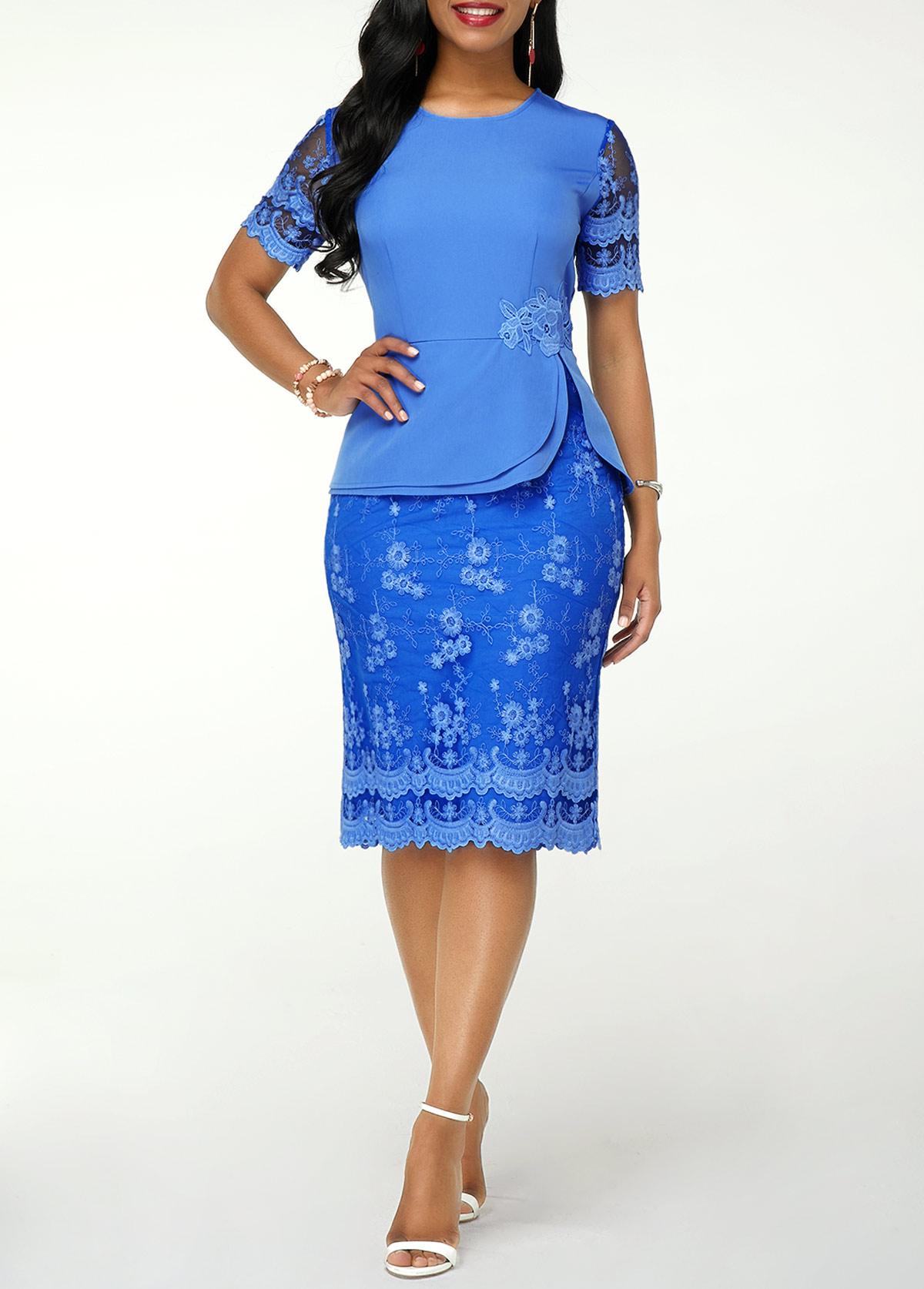 Short Sleeve Back Slit Lace Dress