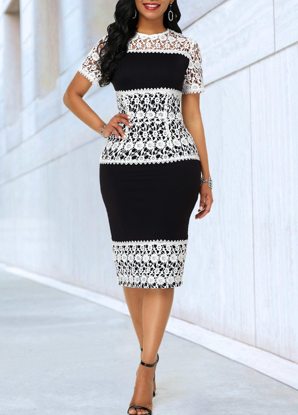 Lace Panel Short Sleeve Sheath Dress
