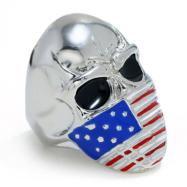 Flag Design Silver Metal Skull Ring