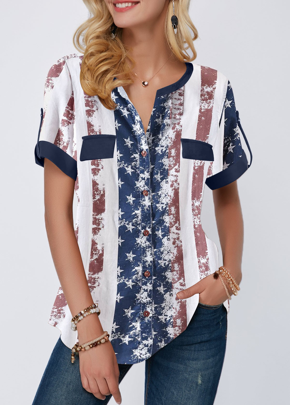 Roll Tab Sleeve American Flag Print Blouse