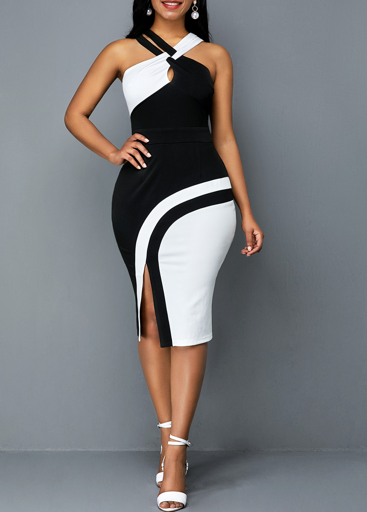 Side Slit Sleeveless Color Block Sheath Dress
