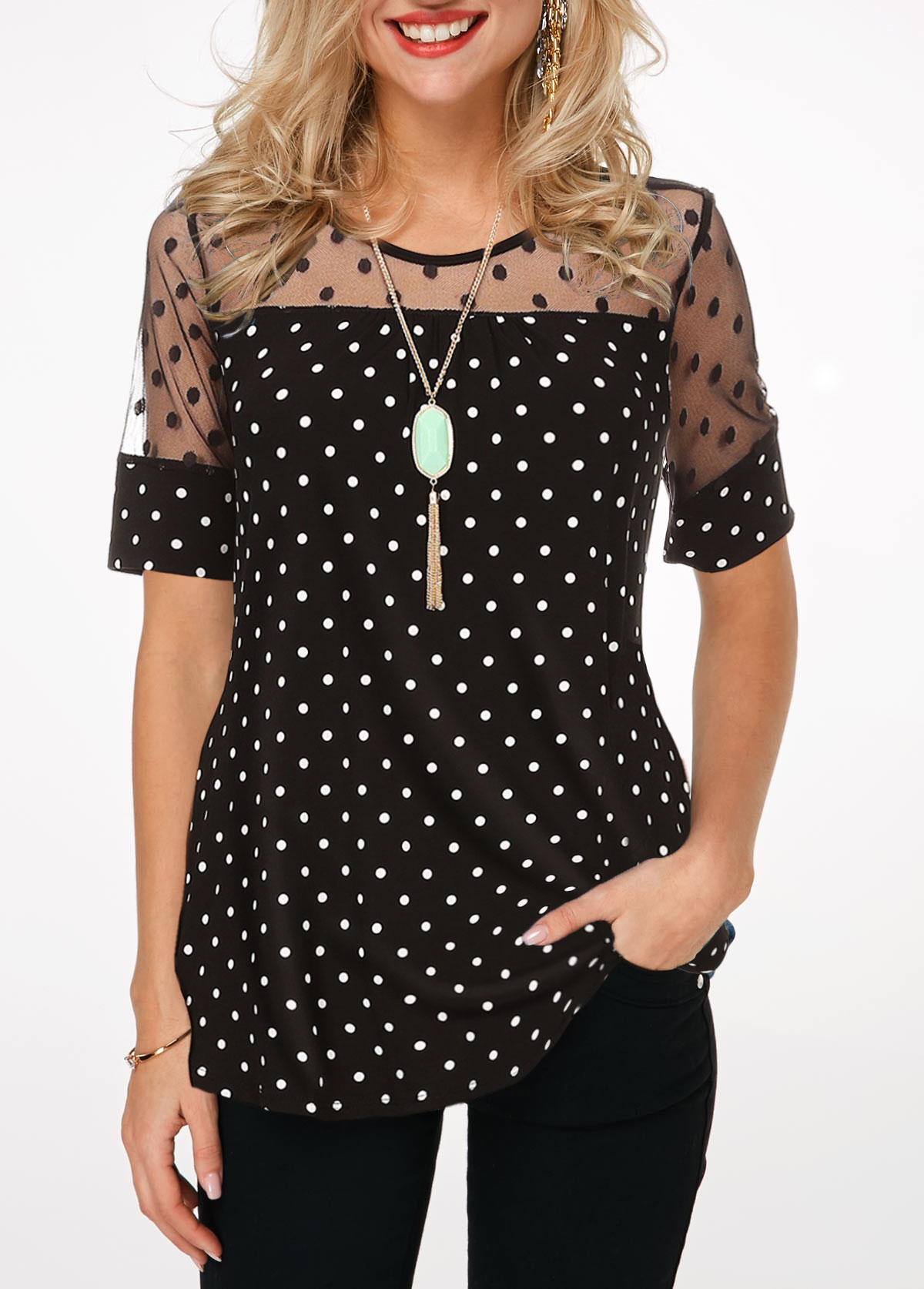 Polka Dot Mesh Patchwork Short Sleeve Blouse