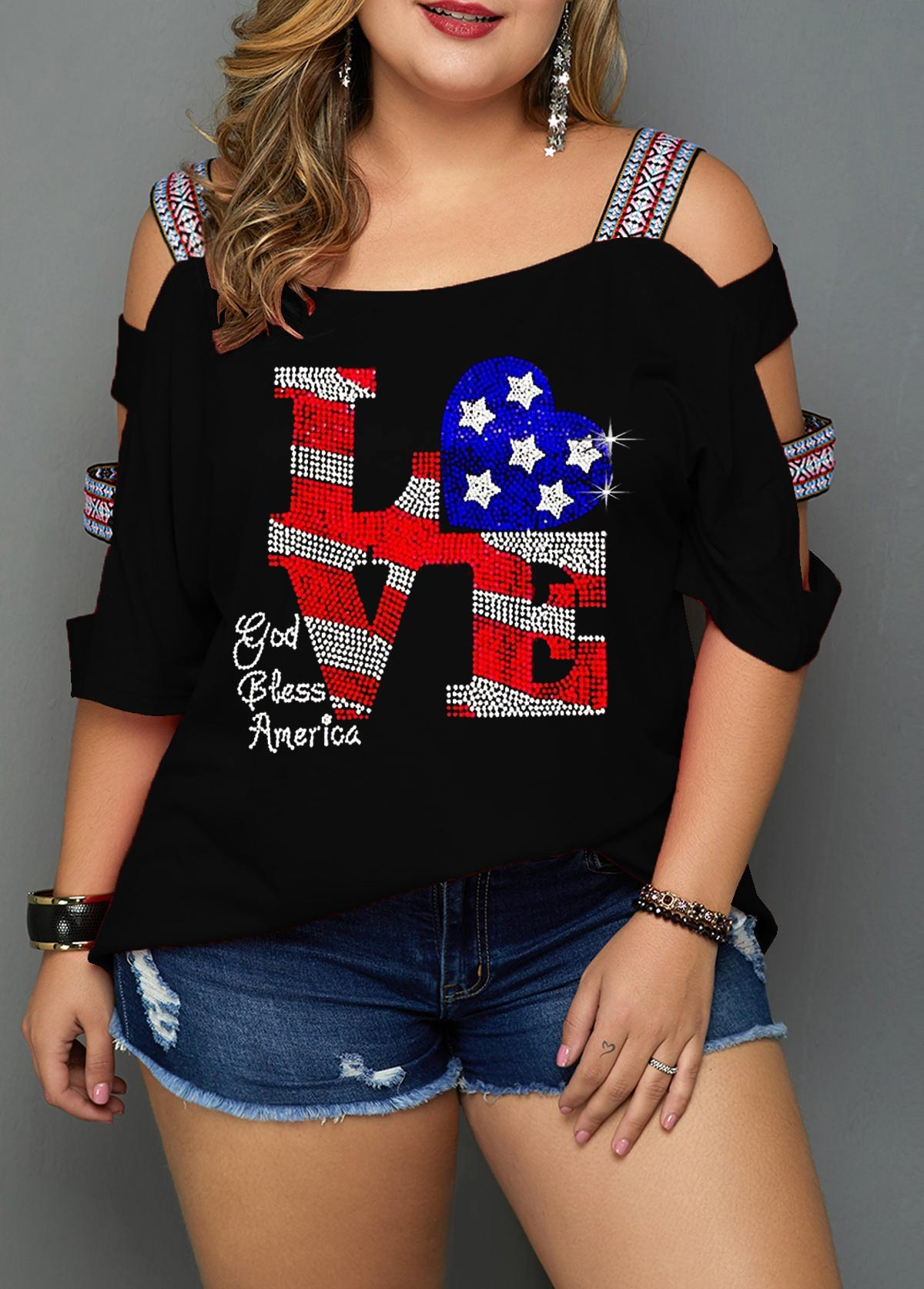 Cutout Sleeve Star Print Plus Size Blouse