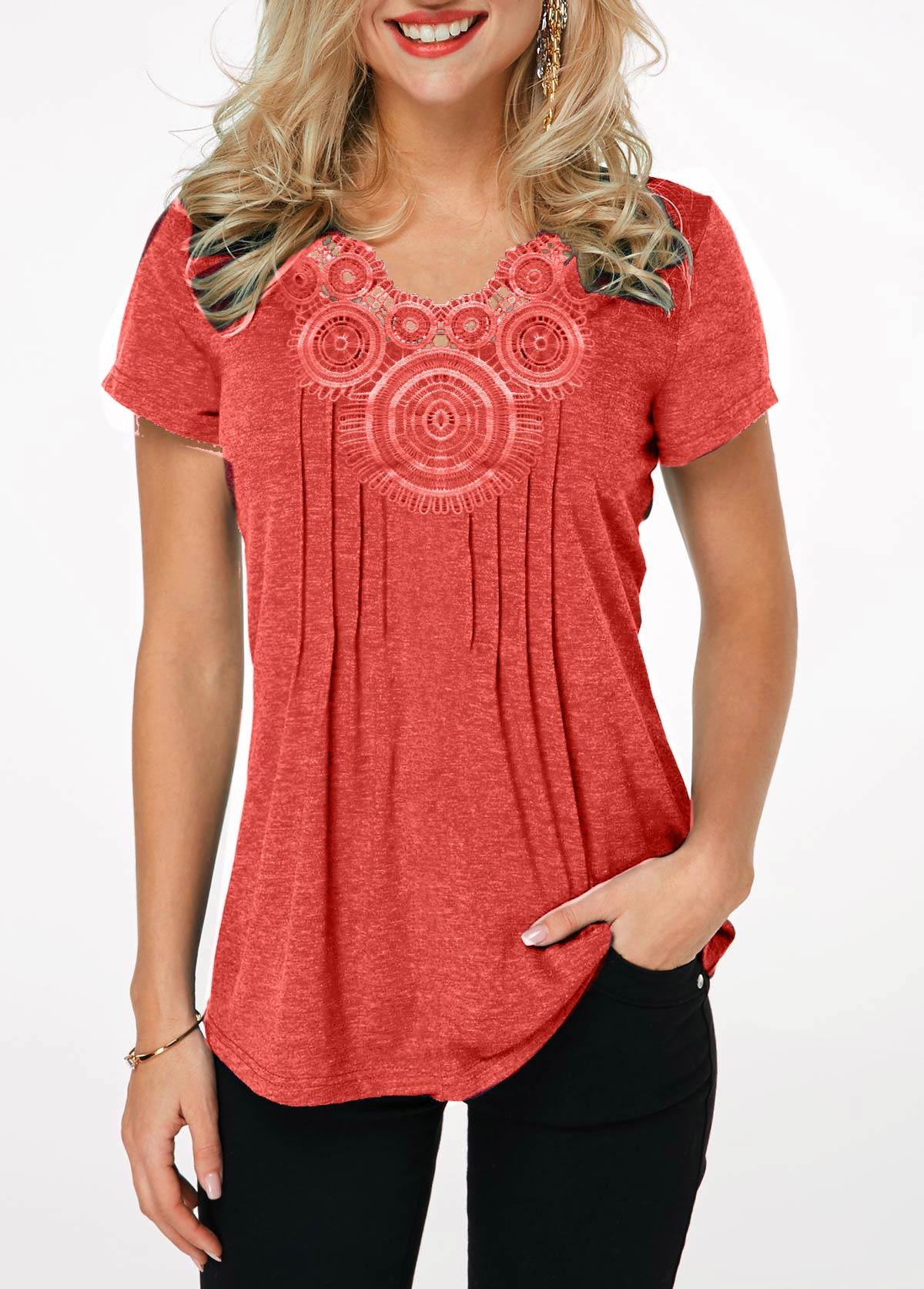 Crinkle Chest Short Sleeve Coral Red T Shirt