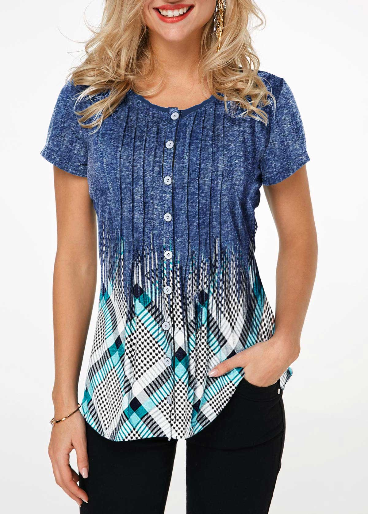 Geometric Print Button Up Crinkle Chest Shirt