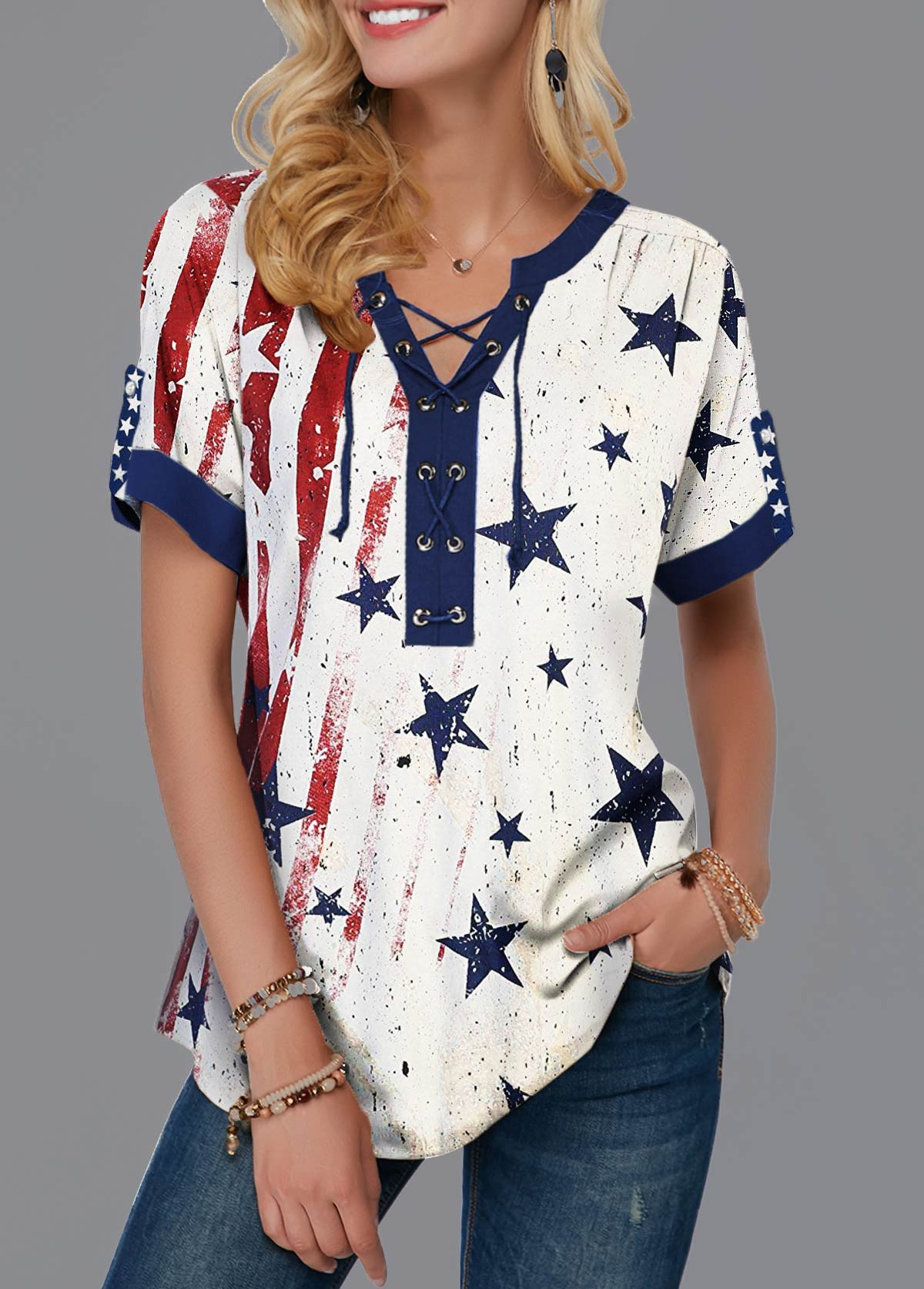 Lace Up Front American Flag Print Notch Neck T Shirt