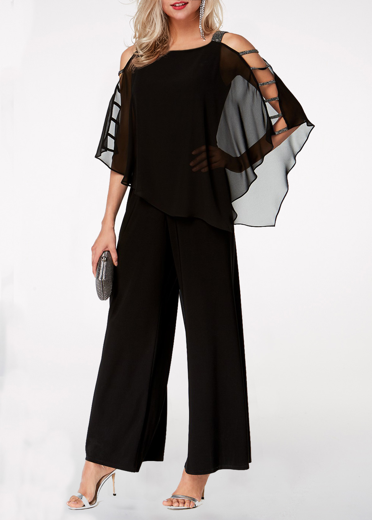 Ladder Cutout Sleeve Chiffon Overlay Black Jumpsuit