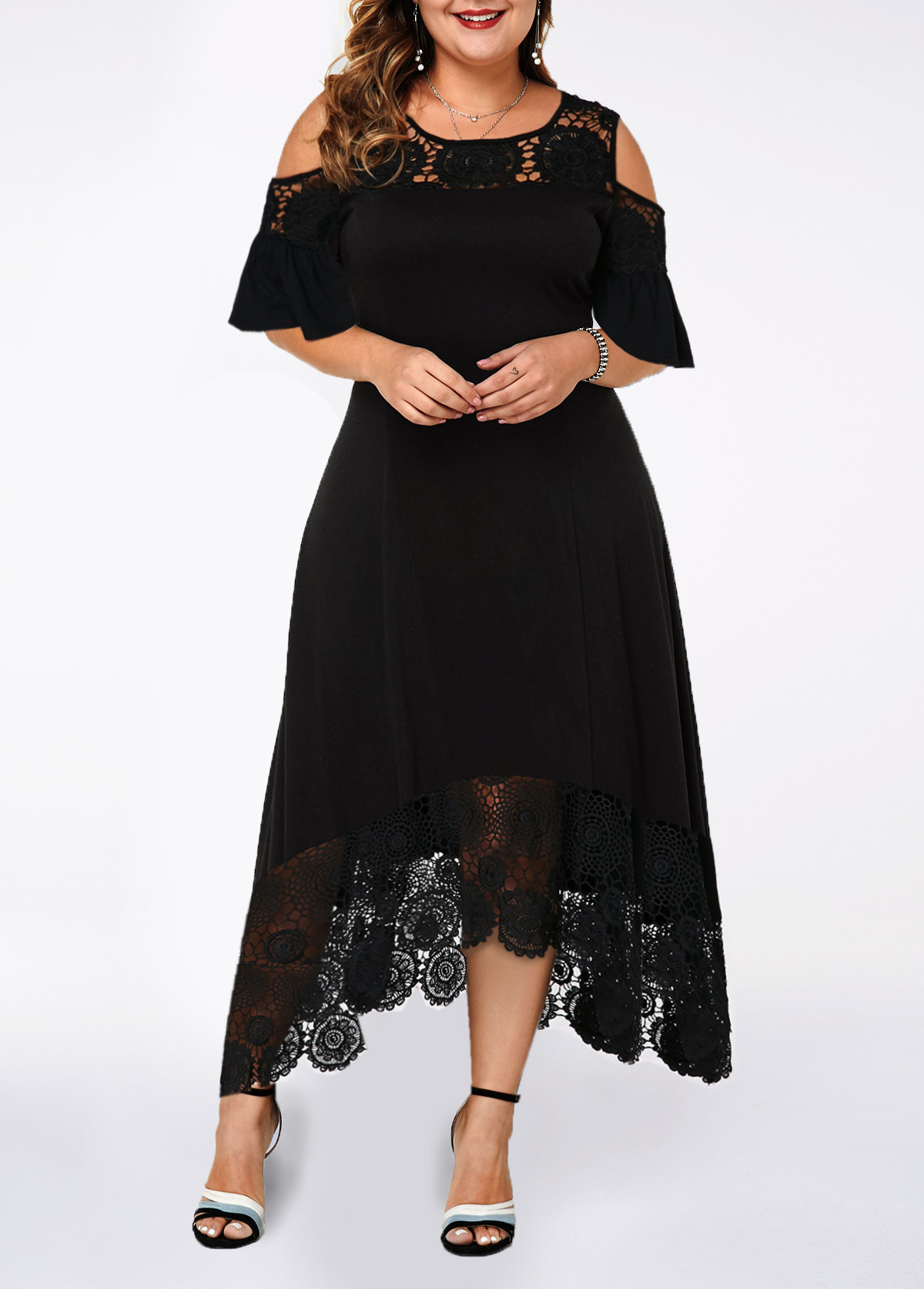 Plus Size Cold Shoulder Lace Patchwork Dress | modlily.com - USD $35.08