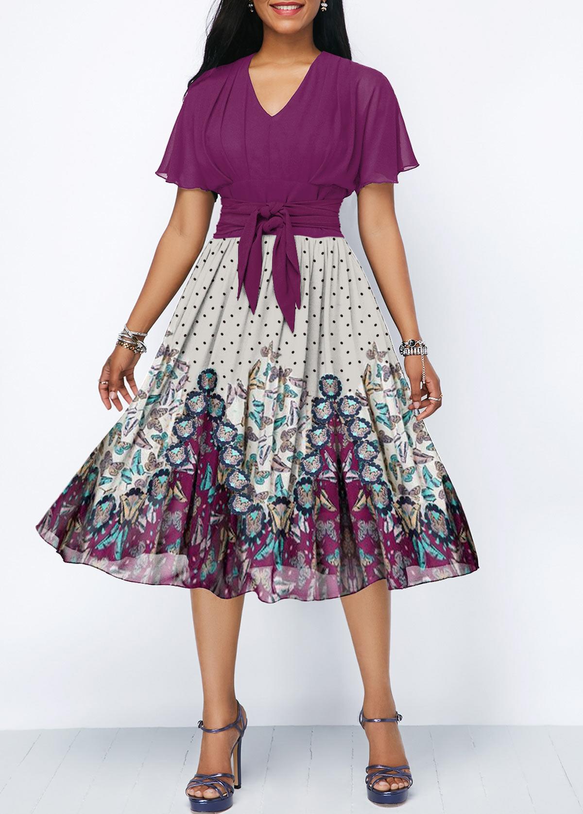 Tie Waist V Neck Butterfly Print Dress