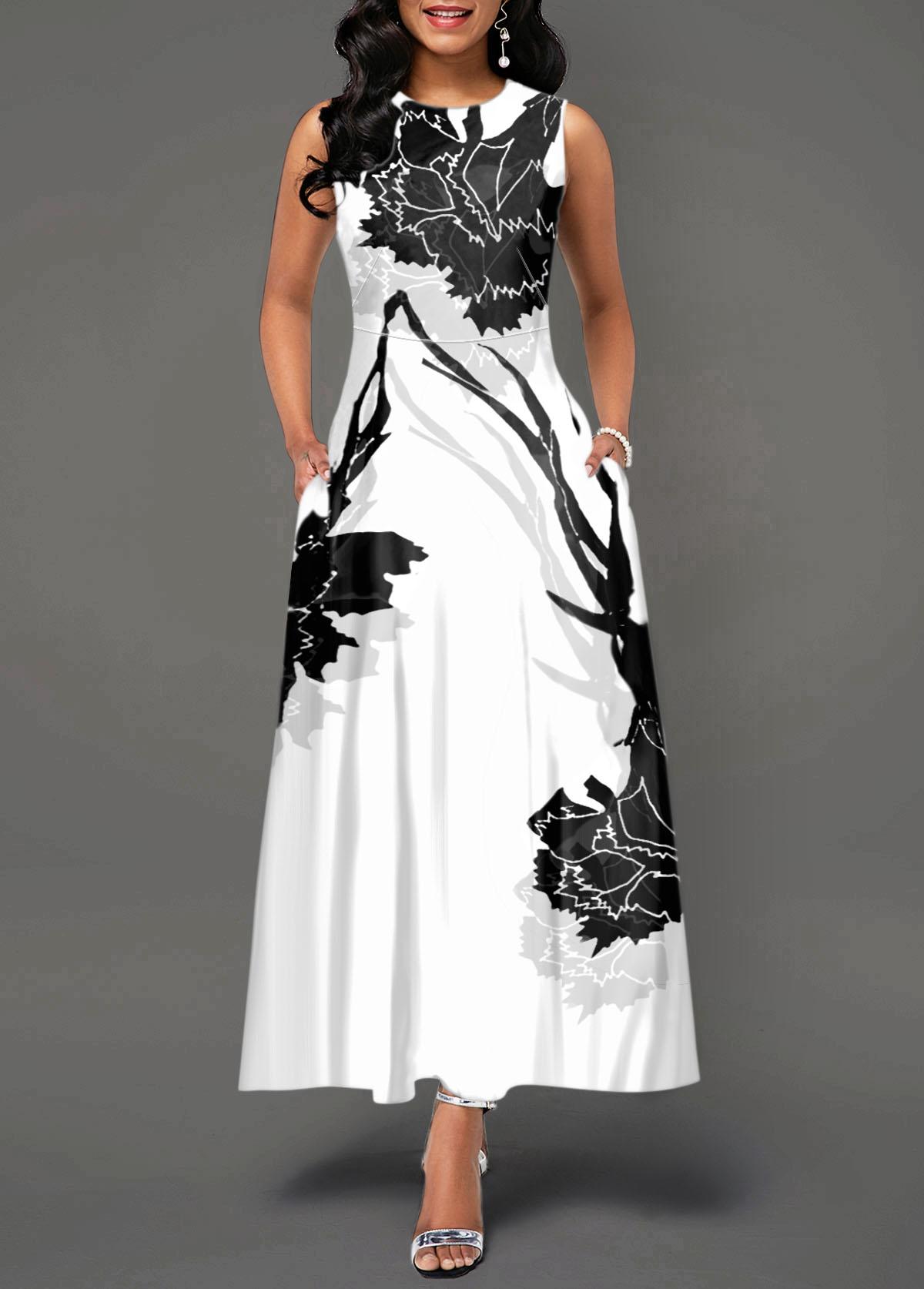 Sleeveless Zipper Back Flower Print White Dress