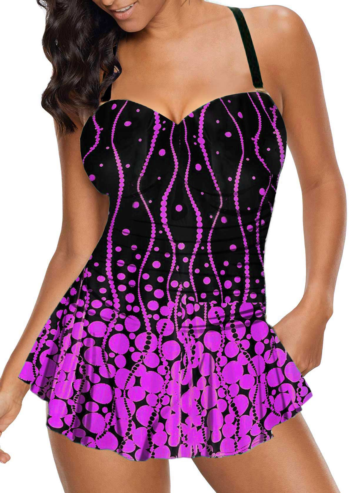 Spaghetti Strap Polka Dot Print Swimdress and Panty